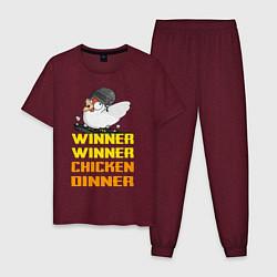 Пижама хлопковая мужская PUBG Winner Chicken Dinner цвета меланж-бордовый — фото 1