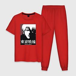 Пижама хлопковая мужская Канеки цвета красный — фото 1