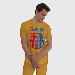 Пижама хлопковая мужская Barcelona FC цвета горчичный — фото 2