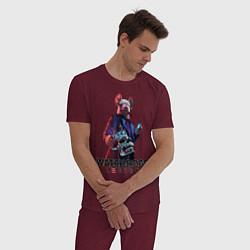 Пижама хлопковая мужская Watch Dogs Legion цвета меланж-бордовый — фото 2