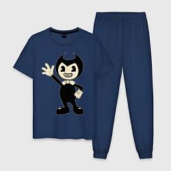 Пижама хлопковая мужская Bendy And The Ink Machine цвета тёмно-синий — фото 1