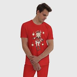 Пижама хлопковая мужская Кли - Genshin Impact цвета красный — фото 2