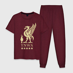 Пижама хлопковая мужская Liverpool FC цвета меланж-бордовый — фото 1