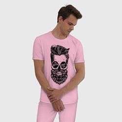 Пижама хлопковая мужская Хипстер цвета светло-розовый — фото 2