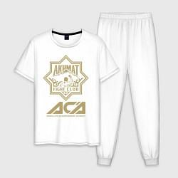 Пижама хлопковая мужская Akhmat Fight Club цвета белый — фото 1