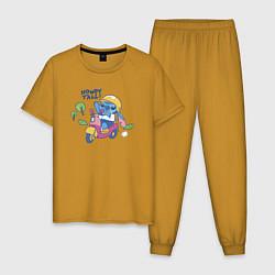 Пижама хлопковая мужская Стич цвета горчичный — фото 1