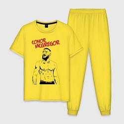 Пижама хлопковая мужская Конор МакГрегор цвета желтый — фото 1