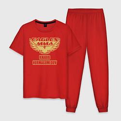 Пижама хлопковая мужская MMA цвета красный — фото 1