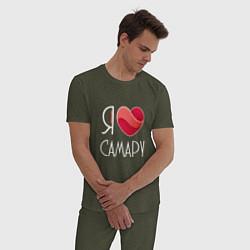Пижама хлопковая мужская Я люблю Самару цвета меланж-хаки — фото 2