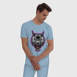 Пижама хлопковая мужская Оскаливший волк цвета мягкое небо — фото 2