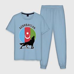 Пижама хлопковая мужская Азербайджан цвета мягкое небо — фото 1
