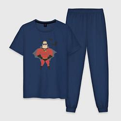 Пижама хлопковая мужская The Incredibles цвета тёмно-синий — фото 1