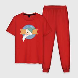 Пижама хлопковая мужская Скромник цвета красный — фото 1