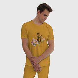Пижама хлопковая мужская Flower цвета горчичный — фото 2