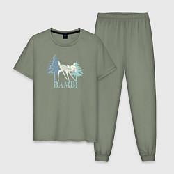 Пижама хлопковая мужская Bambi цвета авокадо — фото 1