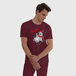 Пижама хлопковая мужская Cat цвета меланж-бордовый — фото 2