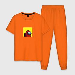Пижама хлопковая мужская Among Us цвета оранжевый — фото 1