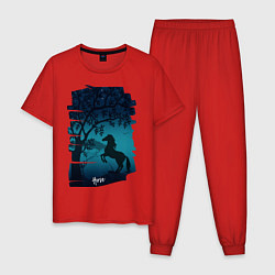 Пижама хлопковая мужская Конь цвета красный — фото 1