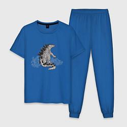 Пижама хлопковая мужская Годзилла цвета синий — фото 1