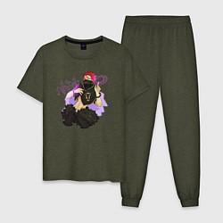 Пижама хлопковая мужская Zora Ideale цвета меланж-хаки — фото 1