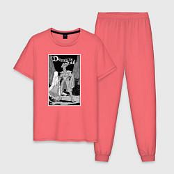 Пижама хлопковая мужская Demons Souls цвета коралловый — фото 1