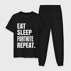 Пижама хлопковая мужская EAT SLEEP FORTNITE REPEAT цвета черный — фото 1