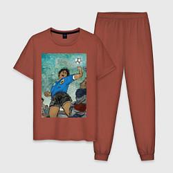 Пижама хлопковая мужская Maradona the legend цвета кирпичный — фото 1