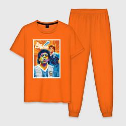 Пижама хлопковая мужская Диего Армандо Марадона цвета оранжевый — фото 1