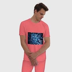 Пижама хлопковая мужская Механик цвета коралловый — фото 2