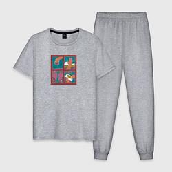 Пижама хлопковая мужская Slava Marlow цвета меланж — фото 1