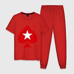 Пижама хлопковая мужская Покер Пики Poker Stars цвета красный — фото 1