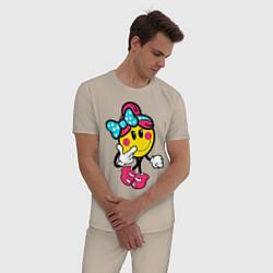 Пижама хлопковая мужская Девочка смайл цвета миндальный — фото 2