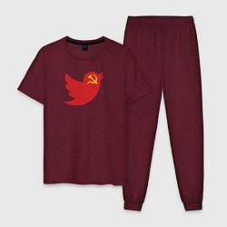 Пижама хлопковая мужская Team Trump цвета меланж-бордовый — фото 1