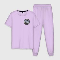Пижама хлопковая мужская S W O R D цвета лаванда — фото 1
