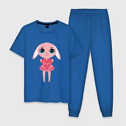 Пижама хлопковая мужская Зайчик с сердечком цвета синий — фото 1