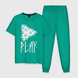 Пижама хлопковая мужская Рингерике Play цвета зеленый — фото 1
