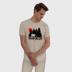 Пижама хлопковая мужская Sakhalin forever цвета миндальный — фото 2