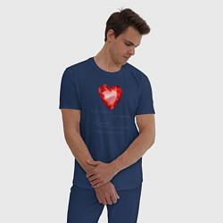 Пижама хлопковая мужская Сердце Любовь цвета тёмно-синий — фото 2