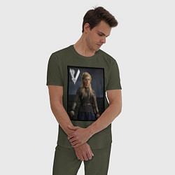 Пижама хлопковая мужская Викинги Лагерта Vikings Lagertha Z цвета меланж-хаки — фото 2