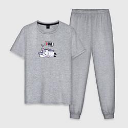 Пижама хлопковая мужская Хомячок цвета меланж — фото 1