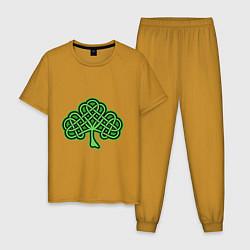 Пижама хлопковая мужская Кельтский клевер цвета горчичный — фото 1