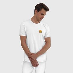 Пижама хлопковая мужская Бургер цвета белый — фото 2