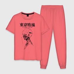 Пижама хлопковая мужская Токийский гуль Кен Канеки цвета коралловый — фото 1