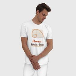 Пижама хлопковая мужская Fibonacci Золотое сечение цвета белый — фото 2
