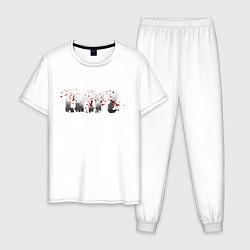 Пижама хлопковая мужская DayZ цвета белый — фото 1