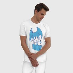 Пижама хлопковая мужская Ink Bendy цвета белый — фото 2