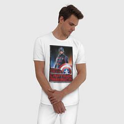 Пижама хлопковая мужская Капитан Америка цвета белый — фото 2