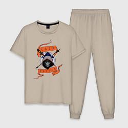 Пижама хлопковая мужская Taskmaster цвета миндальный — фото 1