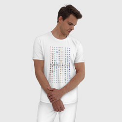 Пижама хлопковая мужская Команды Формулы 1 цвета белый — фото 2
