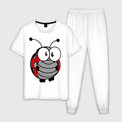 Пижама хлопковая мужская Удивленная божья коровка цвета белый — фото 1